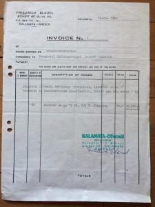 Am 12. Juni 1980 stellt Fritz Bläuel die erste Rechnung für Olivenöl aus.